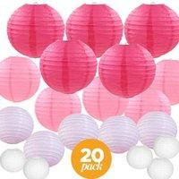 20 piezas de 6-12inch mezcla de papel blanco rosado de las linternas chino japonés surtido de colores Tamaños Lampion para la fiesta de boda que cuelga la decoración de DIY