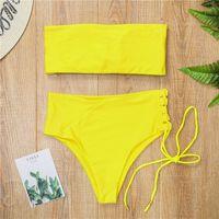 Женские купальники Melpheieer Sexy Bikini 2021 желтый купальный костюм Высокая талия Купальник Сплошная пляжная одежда Отрегулируйте нижние Женщины Bandeau Pads