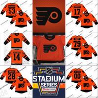 Philadelphia Flyers 2019 Stadium Série Jerseys 11 Travis Konecny 17 Wayne Simmonds 53 Shayne Gostisbehere 93 Jakub Voracek Camisolas de Hóquei