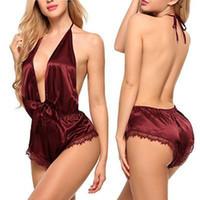 Arco Nighwear las mujeres ropa de noche atractiva del cordón de las señoras de la ropa interior del sueño mono atractivo de la honda del pijama de la ropa interior femenina cuello en V 050805