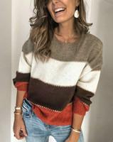 Le donne lavorato a maglia sexy del maglione Maglione a maniche lunghe signore maglione a strisce Pullover camicia 2019 nuovo arrivo Tops colorati