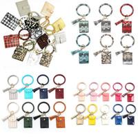 Bracelet Keychain Wallet Leopard serpent PU cuir Tassel femmes Carte Sac d'embrayage Femmes Bracelet OOA8090 Keyring
