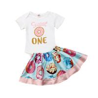 Focusnorm Art und Weise 2pcs Baby-Kleidung Neugeborene Short Sleeve Print Donuts Bodysuit + Donuts Röcke Outfits Set