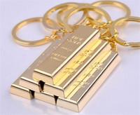 Vintage Gold Bar Schlüsselanhänger Kreative Metallic Brick Schlüsselanhänger Designer-Handtaschen-Charme-Anhänger Schlüsselanhänger Key Finder Luxus Mann Car Schlüsselanhänger
