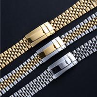 Браслет ремешок 20mm часы ремешок Ремешок из нержавеющей стали 316L изогнутый конец Серебро Часы Аксессуары Подходит для GMT Datejust часов