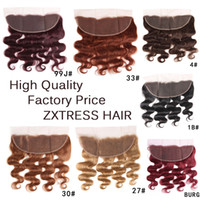 Lace Frontal Closure 13x4 Pre- Colored Human Hair Extension R...