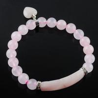 Forma de cuarzo rosa piedra preciosa natural estiramiento brazaletes 8mm redonda Beads pulseras del amor del corazón del péndulo colgante de joyería de las mujeres DK3341