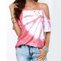 Cacual T-shirt irrégulier évider imprimé à manches courtes T-Shirt Femmes d'été Deigner Vêtements amples condole Ceinture