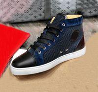 Hommes de haute qualité Hommes Femmes Chaussures Baskets de fond rouge Véritable Cuir Bleu Velvet Fishnet Entraîneurs de paillettes de paillettes 35-47 Remise