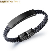 Mens Leather Bangle Bracelets Black Magnetic Stainless Steel...