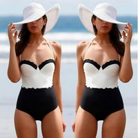 white black Monokini Stripes Swimwear Women Top Halter Swims...
