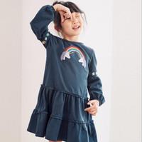 طفلة الملابس جولة اللباس الياقة كم طويل قوس قزح طباعة الكشكشة تصميم ربيع خريف الأميرة فتاة اللباس