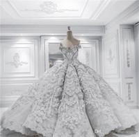 Apliques de encaje vestidos de lujo moldeada cristalina del hombro de bola del vestido de boda de la vendimia espalda abierta Arabia árabe Dubai del vestido de novia más el tamaño