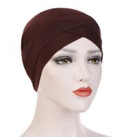 Front Croix Crinkle Hijab Indien Chapeau Coton Élastique Musulman Femmes Turban Bonnet Doux Wrap Foulard Multicolore Stretch Caps LJJJ155