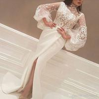 Robe de soirée musulmane blanche 2019 Collier High Collier à manches longues en dentelle Slit islamique Dubaï Saoudien Arabe Longue Soir Robe de promo