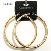 Gothletic or couleur 90MM Big Boucles d'oreilles en cuivre épais Tube 5MM Minimaliste ronde Cercle Boucles d'oreilles pour les femmes Hiphop Roche Bijoux
