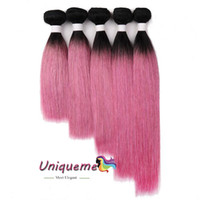 Ombre 1b Rose- Pink Color Brazilian Hair Straight 100% Human ...