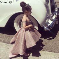 vestito da spettacolo del merletto del vestito dalla ragazza di fiore di appliques poco costoso di nuovo arrivo per le ragazze principessa del merletto per le nozze Abiti delle ragazze di fiore per il compleanno