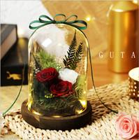 Fleur éternelle cadeau boîte couvercle en verre décoration cadeau de noël cadeau d'anniversaire cadeau rose rouge Saint Valentin envoyer petite amie