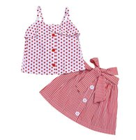 2PCS Toddler Newborn Kids Baby Girl Red Polka Dot Sleeveless...
