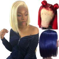 613 13x6 Blonde Lace Front perruque de couleur bleue Remy rouge cheveux humains pleine Ends Transparent Frontal Fermeture suisse dentelle court Bob Perruques