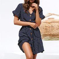 Sommerkleid 2019 Frauen Polka Dot Vintage Kleid Lässige Kurzarm Rüschen Chiffon Kleid Sexy Mini Party Strand Kleider