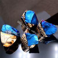10st Titanium Aura Raw Naturlig Oregelbunden Quartz Crystal Stone Ring Cool Guldpläterad Mystic Slumpmässig Storlek Metallisk Drusy Point Justerbar Ring