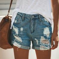 2019 Verão Denim Jeans Curto Mulheres Sexy Cintura Alta Buraco Rasgado Shorts Moda Casual Slim Plus Size Denim Shorts