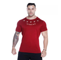 New Style Mens Tshirts Fitness Cotton Letters Printing Elast...