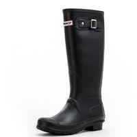 Venta-mujeres calientes RAINBOOTS de moda las botas de lluvia botas altas de estilo Inglaterra Welly resistente al agua hasta la rodilla de goma RAINBOOTS zapatos de agua rainshoes