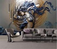 Carta da parati su ordinazione murale per pareti 3D stereoscopico in rilievo Moda Arte Bellezza Bedroom TV Sfondo decorazione domestica parete Pittura