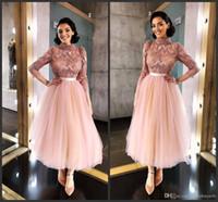 Rosa Tüll Langarm Tee Länge Kurz Ball Kleid Prom Kleider 2019 Neue Afrikanische Abendkleid Paillettenkleider Prom Kleid Partyabend