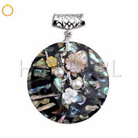 Big Round Disc Abalone Pendant with Colorful Flowers Natural...