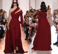 2020 Burgundy Prom Dresses Women Jumpsuits with Overskirt One Shoulder Long Sleeve Satin Custom Made Formal Gowns