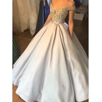 2019 Gorgeous Ball Gown Prom Dresses v neck Off The Shoulder Beadings Satin Evening Party Gown Vestidos de Fiesta Largos Elegantes de Gala