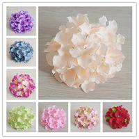 50 adet 20cm 20colors Yapay Ortanca Dekoratif İpek Çiçek Başkanı İçin DIY Düğün Duvar Arch Arkaplan Manzara Dekorasyon Aksesuar Dikmeler