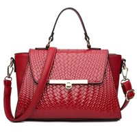 The hottest brand ladies high- end handbags woven pattern PU ...