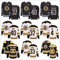 Özel Boston Bruins 37 Patrice Bergeron 88 Pastrňák 4 Bobby Orr 63 Brad Marchand 40 Rask ABD Bayrağı Moda hokey Erkekler Kadınlar Gençlik formaları