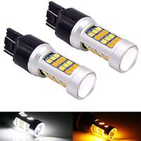 2pcs 1157 3157 7443 Bianco / Switchback LED ambra doppio dell'automobile di colore del segnale di girata delle lampadine 12V