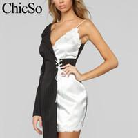 sexy cetim blazer listrado Mulheres de um ombro vestido preto envoltório branco Casual Lace Up verão poliéster vestido