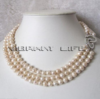 "Free shipping Wholesale price 17- 19 "" , 6- 8mm 3Row white..."