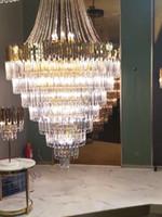Ücretsiz kargo Amerikan kristal avize altın led kolye lambaları lüks villa oturma odası otel merdiven dekorasyon avizeler için ışıklar