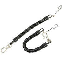 10pcs Black Retractable Coil Cord Springs Keychain Strap Swivel Lobster Clasp Keyring Colorful Stretch Key Chain Ring Holder