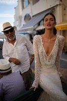 2020 vestido de casamento Inbal Dror Wedding Dress V Neck Lantejoulas Lace Mermaid vestidos de noiva mangas compridas Backless Praia personalizado H089