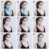 도매 여성 스카프 얼굴은 다기능 13 개 스타일 실크 쉬폰 손수건 야외 방풍 반 얼굴 방진 양산 마스크 마스크 FY