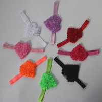 40pcs 7cm Şifon Rozet Kalp Çiçek Bantlar Kız Saç Aksesuarları, Elastik Kafa Çiçek, şifon Kalp Çiçekler