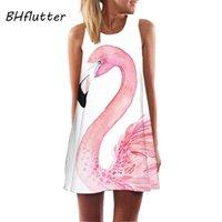 Günlük Elbiseler Bhfftern Flamingo Baskı Beyaz Şifon Elbise Kadın Moda Kolsuz Yaz Bayanlar Mini Sevimli Parti Vestidos