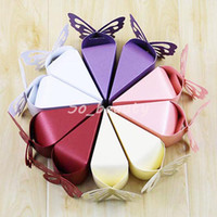 100 stücke Schmetterling Kuchen Stil Süßigkeitenboxen Laser geschnitten Hochzeit Gunst Baby Dusche Geburtstag Sweet Party Geschenkbox