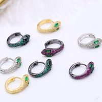 Women Snake Diamond Earrings Personality Creative Animal Rou...
