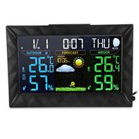 اللون الرقمية محطة الطقس توقعات مع داخلي / خارجي استشعار درجة الحرارة الرطوبة مقياس الضغط الجوي